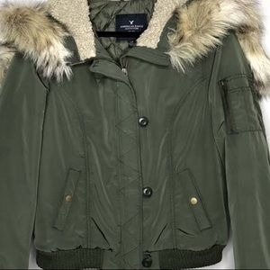 AEO HOODED COAT WITH FAUX FUR HOOD
